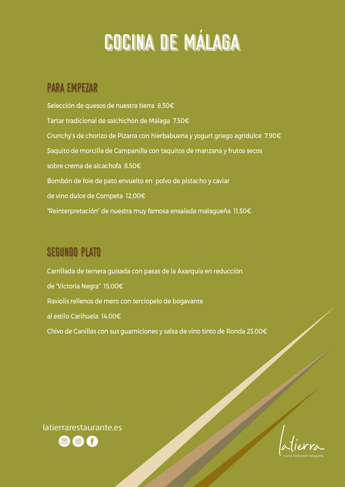 Carta Cocina de Málaga